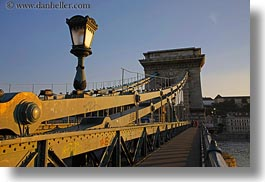 bridge, budapest, europe, horizontal, hungary, lamp posts, structures, szechenyi chain bridge, photograph