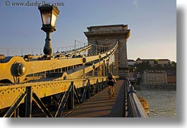bikes, bridge, budapest, europe, horizontal, hungary, lamp posts, people, structures, szechenyi chain bridge, photograph