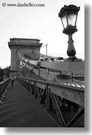 black and white, bridge, budapest, europe, hungary, lamp posts, span, structures, szechenyi chain bridge, vertical, photograph