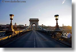 bridge, budapest, europe, horizontal, hungary, lamp posts, streets, structures, szechenyi chain bridge, photograph