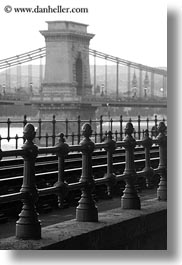black and white, bridge, budapest, europe, hungary, irons, railing, structures, szechenyi chain bridge, towers, vertical, photograph