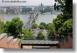 bridge, budapest, catwalk, europe, from, horizontal, hungary, structures, szechenyi chain bridge, views, photograph