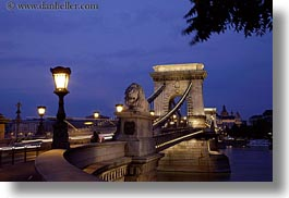 bridge, budapest, europe, heads, horizontal, hungary, lamp posts, lions, long exposure, nite, statues, structures, szechenyi chain bridge, photograph