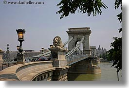 bridge, budapest, europe, heads, horizontal, hungary, lamp posts, lions, structures, szechenyi chain bridge, photograph