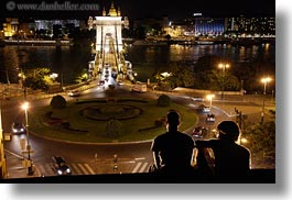 bridge, budapest, europe, horizontal, hungary, light streaks, lights, nite, people, structures, szechenyi chain bridge, viewing, photograph