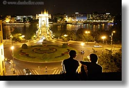 bridge, budapest, europe, horizontal, hungary, nite, people, structures, szechenyi chain bridge, viewing, photograph