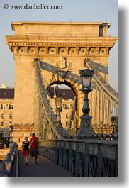 across, bridge, budapest, europe, hungary, people, structures, szechenyi chain bridge, vertical, walking, photograph