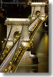 bridge, budapest, down, europe, hungary, light streaks, lights, long exposure, nite, structures, szechenyi chain bridge, tops, vertical, views, photograph