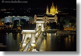bridge, budapest, down, europe, horizontal, hungary, light streaks, lights, nite, slow exposure, structures, szechenyi chain bridge, tops, views, photograph