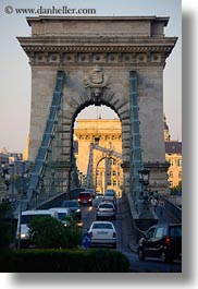bridge, budapest, europe, hungary, structures, szechenyi chain bridge, traffic, vertical, photograph