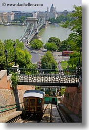 bridge, budapest, chains, cityscapes, europe, furnicular, hungary, nature, rivers, structures, train tracks, transportation, vertical, water, photograph