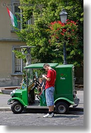 budapest, europe, green, hungary, men, people, postal, transportation, trucks, vertical, photograph