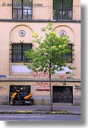 budapest, europe, hungary, motorcycles, transportation, trees, vertical, photograph