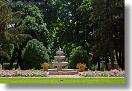 europe, fountains, gardens, grof degenfeld castle hotel, horizontal, hungary, photograph