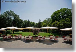 europe, grof degenfeld castle hotel, horizontal, hungary, tables, umbrellas, photograph