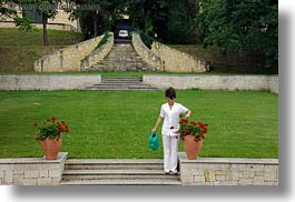 europe, flowers, grof degenfeld castle hotel, horizontal, hungary, people, watering, womens, photograph