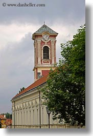 buildings, clock tower, europe, hungary, tarcal, vertical, photograph