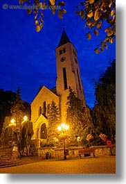 churches, europe, hungary, nite, slow exposure, tarcal, vertical, photograph