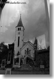 black and white, churches, europe, hungary, reflections, tarcal, vertical, photograph