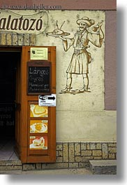 europe, foods, hungary, murals, signs, tarcal, vertical, photograph