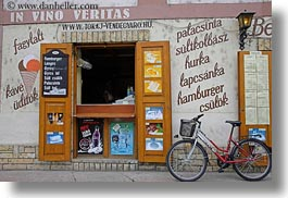 bicycles, europe, foods, horizontal, hungary, shops, signs, tarcal, photograph