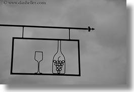 black and white, europe, horizontal, hungary, signs, tarcal, wines, photograph