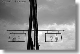 black and white, europe, horizontal, hungary, reflections, signs, symmetry, tarcal, wines, photograph