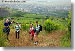 clothes, emotions, europe, fields, hats, hikers, hiking, horizontal, hungary, people, smiles, tokaj hills, photograph