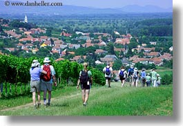europe, hikers, hiking, horizontal, hungary, overlook, people, tokaj hills, towns, photograph
