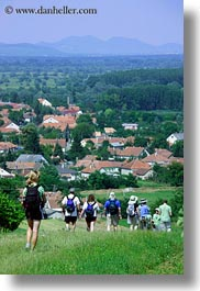 europe, hikers, hiking, hungary, overlook, people, tokaj hills, towns, vertical, photograph