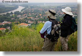 clothes, europe, hats, hikers, horizontal, hungary, overlooking, people, tokaj hills, towns, photograph