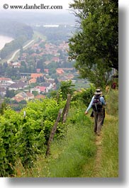 clothes, europe, hats, hikers, hungary, overlooking, people, tokaj hills, towns, vertical, photograph