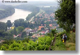 europe, hikers, horizontal, hungary, overlooking, people, tokaj hills, towns, photograph