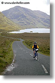 bicycles, bikers, connaught, connemara, europe, ireland, irish, jills, long, mayo county, roads, vertical, western ireland, photograph