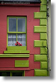 connaught, connemara, europe, green, ireland, irish, mayo, mayo county, pink, vertical, western ireland, windows, photograph