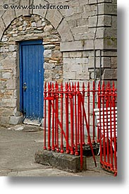 blues, connaught, connemara, doors, europe, fences, ireland, irish, mayo county, red, vertical, western ireland, photograph