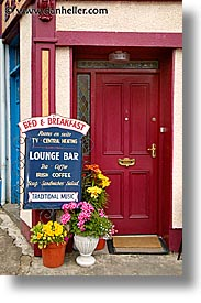 bed and breakfast, connaught, connemara, europe, ireland, irish, mayo county, signs, vertical, western ireland, photograph