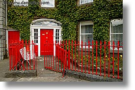 connaught, connemara, doors, europe, fences, horizontal, ireland, irish, mayo county, red, western ireland, photograph