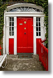 connaught, connemara, doors, europe, fences, ireland, irish, mayo county, red, vertical, western ireland, photograph