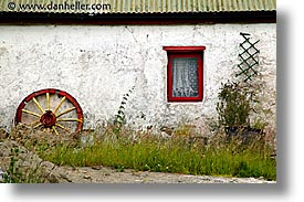 connaught, connemara, europe, horizontal, ireland, irish, mayo county, red, western ireland, wheels, windows, photograph