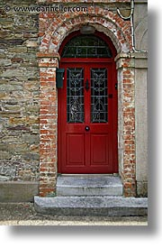 bricks, cork, cork county, doors, europe, ireland, irish, munster, red, vertical, youghal, photograph