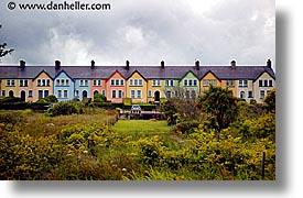 colored, cork county, europe, homes, horizontal, ireland, irish, kerry, kerry penninsula, munster, ring of kerry, rows, waterford county, western ireland, photograph