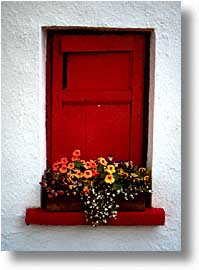cork county, europe, ireland, irish, loop head, loophead penninsula, munster, red, vertical, windows, photograph