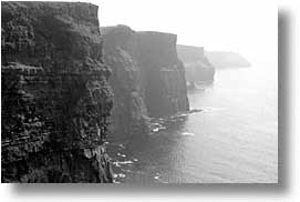 black and white, cliffs, cliffs of moher, cork county, europe, horizontal, ireland, irish, moher cliffs, munster, photograph
