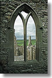clonmacnois, county shannon, europe, gothic, ireland, shannon, shannon river, vertical, windows, photograph