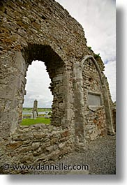 architectural ruins, clonmacnois, county shannon, europe, ireland, irish, shannon, shannon river, vertical, windows, photograph