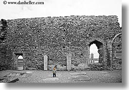 architectural ruins, architectures, babies, black and white, clonmacnois, color composite, county shannon, europe, horizontal, ireland, shannon, shannon river, stones, windows, photograph