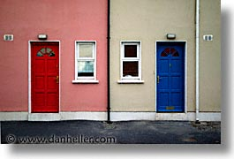 blues, county shannon, doors, dublin, europe, horizontal, ireland, irish, mount shannon, red, shannon, shannon river, photograph