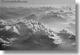aerials, black and white, clouds, europe, horizontal, italy, photograph
