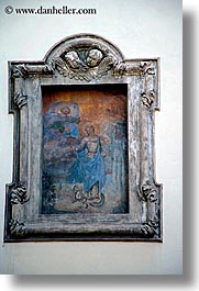 bolzano, dolomites, europe, frescoes, italy, old, religious, vertical, photograph